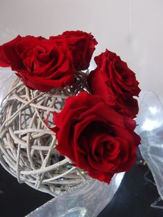 """6"""" curly willow ball with preserved roses"""