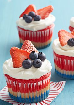 Red, White & Blue Cupcakes – Using flavored gelatin makes these patriotic-looking (and scrumptious) cupcakes a breeze to prepare. Perfect for Memorial Day, July 4—and beyond!