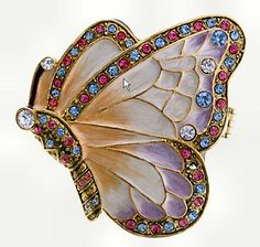 Austrian Crystals Leaded With Pewter Butterfly Trinket Box,,gorgeous!