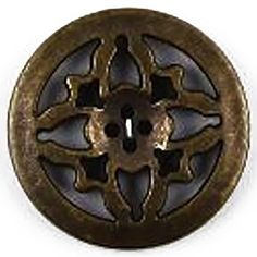 Fancy and Decorative {38mm w/ 4 Holes} Single Pack of Extra Large Size Round 'Flat' Sewing and Craft Buttons Made of Acrylic Resin w/ Antique Metallic Elegant Art Deco Fancy Design {Gold and Black Colors} >>> Details can be found by clicking on the image.