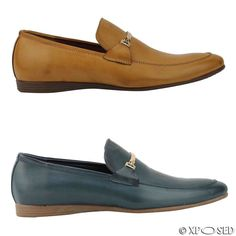 4d54bea7b5d Details about New Mens Faux Leather Tan Blue Smart Slip on Horse bit Loafer  Shoes UK Size 6 11
