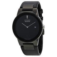 Citizen Eco Drive Axiom Black Dial Negro De Cuero Para Hombre Reloj Au1065-07e