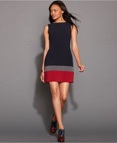 8c3e0c380b6 Tommy Hilfiger Dress, Sleeveless Colorblock Shift & Reviews - Dresses -  Women - Macy's