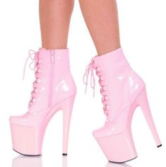 Apoepo Newest Sexy Stage High Heel Boots 2018 Platform Ankle Boots Super High Heels Lace-up Leather Boots Riding Boots Super High Heels, Hot High Heels, High Heels Stilettos, Womens High Heels, Stiletto Heels, Platform Ankle Boots, Platform High Heels, High Heel Boots, Heeled Boots