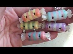 Kawaii salt water taffy candy polymer clay charm tutorial