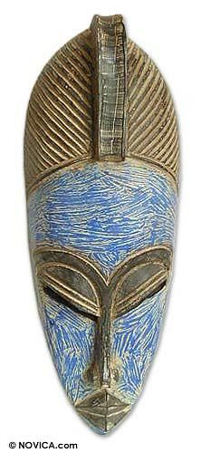 Ashanti wood mask, 'Blue Queen' by NOVICA