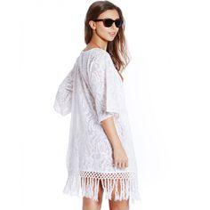 Boutique White Crochet Fringe Kimono   South Beach