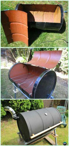 DIY BBQ Barrel Grill Instruction - DIY Backyard Grill Projects