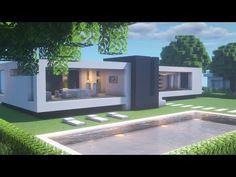 【Minecraft】 Modern House TutorialㅣModern City #2 - YouTube Minecraft Modern Mansion, Minecraft Villa, Minecraft City Buildings, Minecraft House Plans, Cute Minecraft Houses, Minecraft House Tutorials, Minecraft Room, Minecraft House Designs, Amazing Minecraft