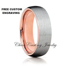 Rose Gold,Dome Tungsten,Brushed Top,Comfort Fit Ring