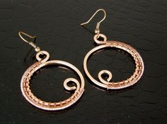 Wire Wrapped Copper Earrings, Copper Hoop Earrings, Eco-Friendly Copper Wire Earrings