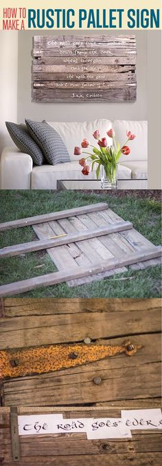 Pallet Wood Art Sign | Easy DIY Pallet Projects by DIY Ready at http://diyready.com/diy-pallet-projects-outdoor-furniture/