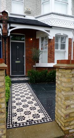 Bespoke Front Garden Bike Store Paving Slate Patio Front Metal Wrought Iron Rail And Victorian Mosaic Tile Path Yellow Brick Garden Wall Wimbledon London - London Garden Design Victorian Front Garden, Victorian Front Doors, Victorian Porch, Victorian Terrace House, Victorian Homes, Terrace House Exterior, Victorian Windows, 1930s House, Front Garden Path