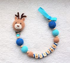 Dummy holder  personalized pacifier clip with deer.