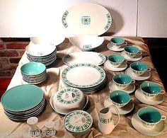 BEN-SEIBEL-Atomic-IROQUOIS-50-PC-Dinnerware-Set-BOMBAY-GREEN-Retro-MOD-1950s