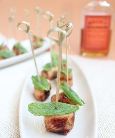 Kentucky Derby Mint Julep Chicken Skewers | This recipe is so fun and unique, it's sure to be a hit at any party, big hats not required  @llbfoodblog