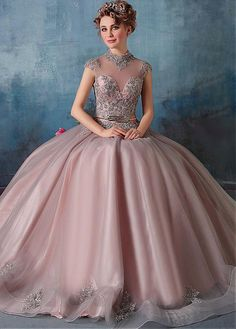 Buy discount Vintage Tulle & Satin High Collar Ball Gown Prom Dresses With Beaded Lace Appliques at Dressilyme.com