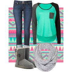 If I didn't have to wear uniforms for school. I would so wear this. Cute and stylish look. Minus the scarf for me.