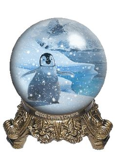 Penguin snow globe GIF