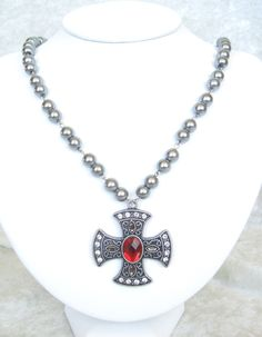 Princess Marina Necklace & Earring Set - Camelot Collection - ornate medieval cross suspended from a strand of large, pewter colored glass pearls - elegant! $40