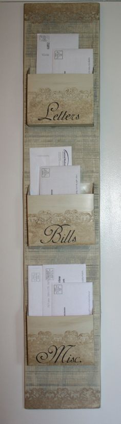 DIY Shabby Chic Mail Organizer from Dollar Store... something like this.