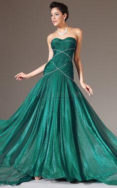 #bridesmaiddresses Sweetheart Neckline Chiffon Green Long Mermaid Bridesmaid Dress JT-CA1335