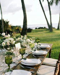 A seaside ivory and emerald wedding on Maui, Hawaii by White Orchid Weddings - florals by Teresa Sena - photo by Anna Kim Photography  - love this outdoor wedding table setting and decor