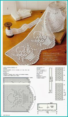 Filet crochet lace edging, floral bouquet in basket with scallops ~~ Szydełkomania: Koronki Crochet Lace Edging, Crochet Motifs, Crochet Borders, Crochet Trim, Crochet Doilies, Crochet Hooks, Knit Crochet, Easy Crochet, Crocheted Lace