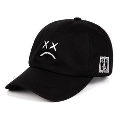160f90da8ae Lil Peep Dad Hat Embroidery 100% Cotton Baseball Cap Sad face Hat  xxxtentacion Hip Hop Cap Golf Love lil peep Snapback Women Men