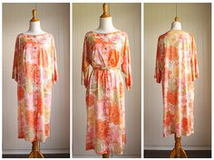 Vintage 70s Citrus Floral House Dress Robe By by TheRubyOlive, $20.00