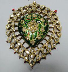 20-K-solid-gold-Diamond-polki-pendant-necklace-kundan-meena-work