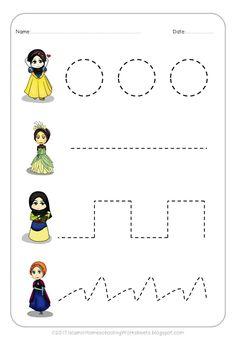 FREE Prewriting Practice in Disney Princess Preschool Pack-Islamic version