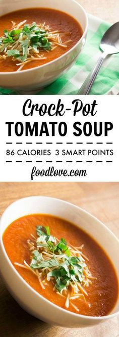 Low calorie recipes 94223817187802719 - An easy, low-calorie, vegan, and delicious tomato soup recipe perfect for weeknight dinners. Only 86 calories per cup! (Salad Recipes Low Calorie) Source by philogaga Tomato Soup Recipes, Diet Soup Recipes, Slow Cooker Recipes, Cooking Recipes, Healthy Recipes, Crockpot Tomato Soup, Low Calorie Vegetarian Recipes, Crock Pot Soup Recipes, Vegan Tomato Soup