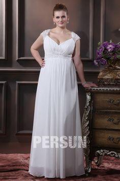 036d68eccd5 Robe de mariée grande taille empire ligne-A col en v appliques dentelle en  mousseline de soie