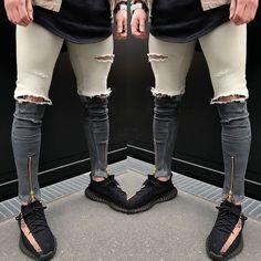 Newest Arrivals ITFABS Fashion MENS Pants Biker Denim Fashion Zipper Skinny Fit Distressed Punk Street Ripped Jean