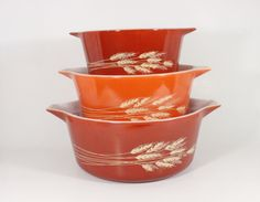 Vintage Pyrex Autumn Harvest Casserole Dishes.OMG Haven't seen these in years.My MOM had these.love them