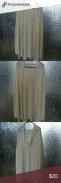 Maurices Sweater Open front cardigan 3/4 open tab sleeves, can also be adjusted to long sleeves  Lightweight with hoodie and 2 front pockets White, Size 3 NWOT Maurices Sweaters Cardigans