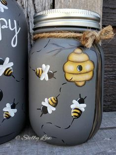 Bee Happy Gnome set of three Hand painted Mason jars Bee Crafts, Rock Crafts, Fall Crafts, Mini Mason Jars, Mason Jar Crafts, Bottle Painting, Jar Painting, Manson Jar, Bee Nursery