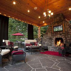 """r tv, Gazebo, outdoor lighting, outdoor living area, Out door fireplace. Outdoor kithcen. Hardscaping. Flagstone hardscaping.""  ""love the gazebo, fireplace, flooring, lighting""  ""Outdoor gazebo...in the gazebo"""
