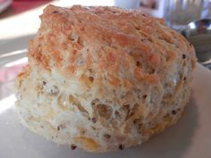 Anster cheese scone with mustard seeds at St Andrew's Cheese Farm, near Anstruther, Fife