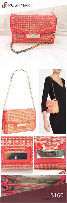 """Kate Spade Carroll Park Scarlette Pink Tweed Bag Kate Spade Carroll Park Scarlette Tweed Shoulder Bag. Excellent condition, always kept in a dust bag in my closet. Super fun neon pink/orange/taupe tweed with bright gold hardware. One light spot on interior bottom lining. Purse has two interior compartments and two slide pockets and one zip pocket. 10.5"""" x 6.5"""" x 3.5"""". Strap drop is about 12"""". Purchased for $348. kate spade Bags Shoulder Bags"""