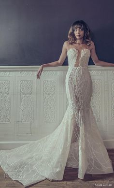 adam zohar 2019 bridal spaghetti strap deep plunging sweetheart neckline full embellishment sexy glamorous fit and flare wedding dress chapel train (3) mv -- Adam Zohar 2019 Wedding Dresses | Wedding Inspirasi #wedding #weddings #bridal #weddingdress #bride ~