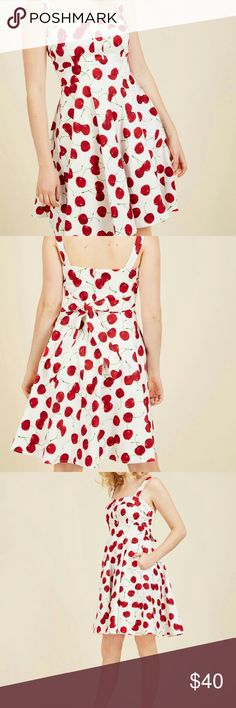 Ixia Modcloth Pull up a Cherry A Line Dress worn 1x. Excellent condition. 97% cotton 3% spandex. Elasticized back. Non stretchy. Lined bodice, back zipper, Padded bust cups. Runs slightly small, I am a M with large chest. modcloth  Dresses Mini