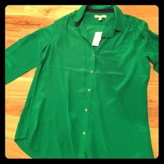 Banana Republic Silk Top Brand new Banana Republic collared green silk top with gold buttons. Banana Republic Tops Blouses