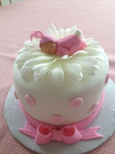 5 inch cake with fondant. Baby is fondant and flower is silk. TFL