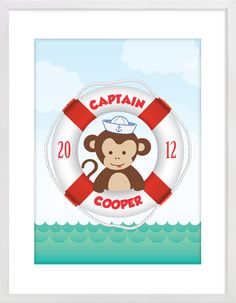 Monkey Captain Custom Name Nursery Wall Print to brighten up your kid's room. Personalised artwork prices start at $9.00. #nurserywallprints #customname #captain #monkey
