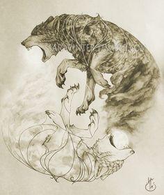 """ssaravinter: """" """" """"Sköll heitir ulfr, er fylgir inu skírleita goði til varna viðar, en annarr Hati, hann er Hróðvitnis sonr, sá skal fyr heiða brúði himins"""" """" One of the four ilustrations I'm doing for a personal project related with norse mythology...."""