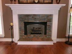 Our Fireplace remodel: Desert quartz Ledgestone from Lowes, maple ...