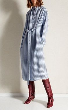 Buckle Dolman Stripe Dress by Tibi