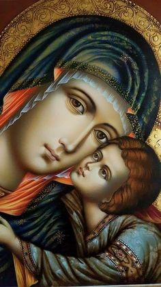 Icon - Madonna and Child Religious Images, Religious Icons, Religious Art, Blessed Mother Mary, Blessed Virgin Mary, Immaculée Conception, Mama Mary, Queen Of Heaven, Byzantine Icons